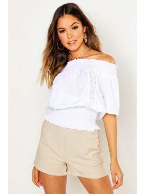 Boohoo Shirred Lace Trim Over The Shoulder Top