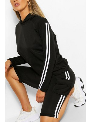 Boohoo Side Stripe Hoody And Shorts Tracksuit