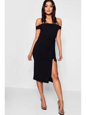Boohoo Bardot Tie Waist Split Detail Midi Dress