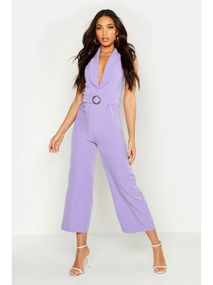 Boohoo Sleeveless Belted Ankle Length Jumpsuit