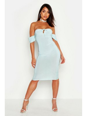 Boohoo Slinky Bardot Cup Detail Bodycon Midi Dress