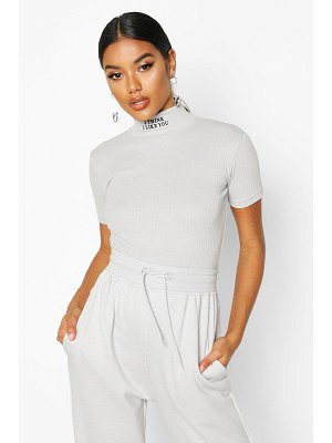 Boohoo Slogan Embroidered High Neck Crop