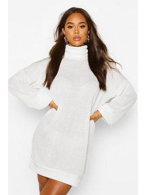 Boohoo Slouchy Roll Neck Sweatshirt Dress