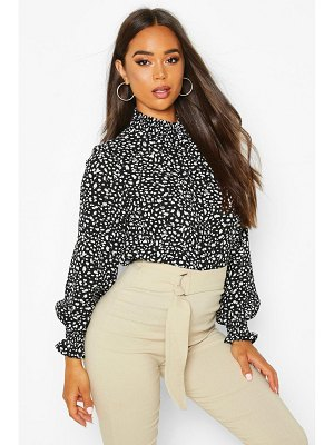 Boohoo Smudge Print High Neck Sheered Blouse