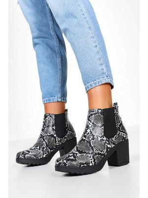 Boohoo Snake Cleated Chelsea Boots