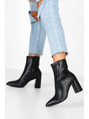 Boohoo Snake Detail Pointed Sock Boots