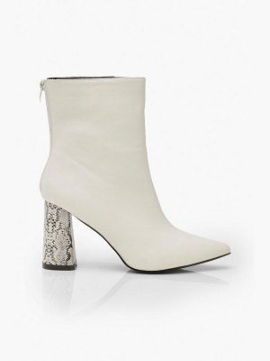 Boohoo Snake Heel Pointed Shoe Boots