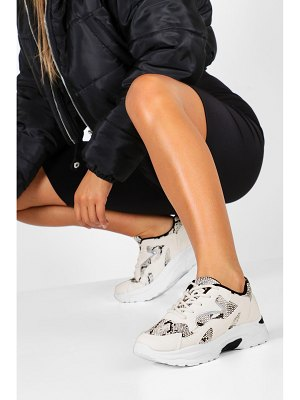 Boohoo Snake Panel Chunky Sole Sneakers