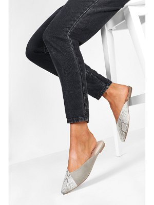 Boohoo Snake Pointed Flat Mules