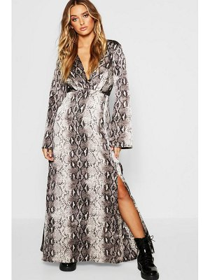 Boohoo Snake Print Revere Collar Maxi Shirt Dress