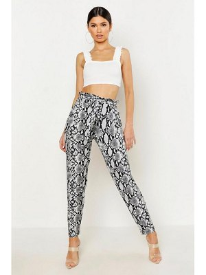 Boohoo Snake Print Tapered Pants