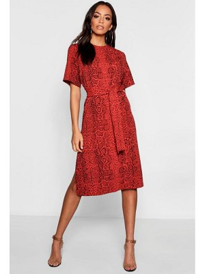 Boohoo Snake Print Tie Waist Midi Shift Dress