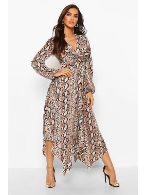 Boohoo Snake Print Twist Front Midi Dress