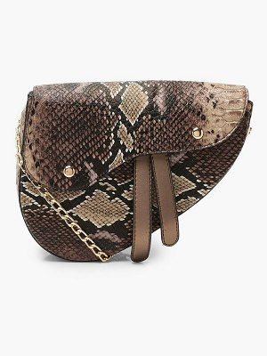 Boohoo Snake Wave Flap Saddle Cross Body Bag
