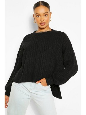 Boohoo Oversized Soft Knit Cable Sweater