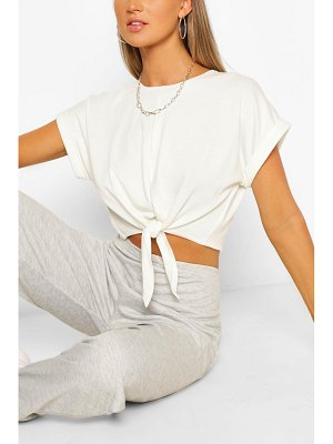 Boohoo Soft Loopback Tie Front Top