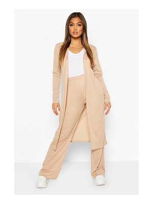 Boohoo Soft Rib Cardigan And Trouser Co-Ord