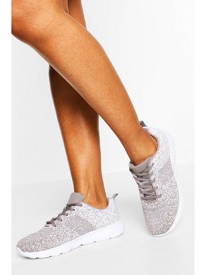 Boohoo Speckle Knitted Running Sneakers