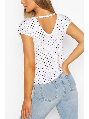 Boohoo Spot Print V Neck Key Hole Detail T-Shirt