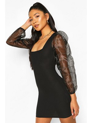 Boohoo Square Neck Dress With Organza Flannel Sleeves