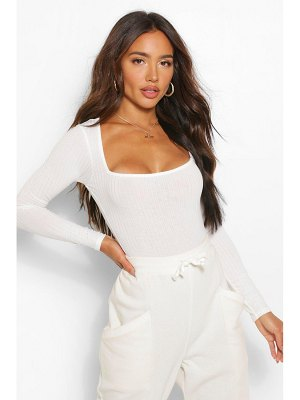 Boohoo Square Neck Knitted Rib One Piece