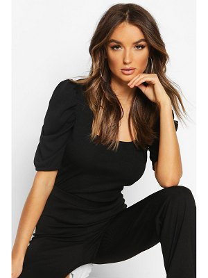 Boohoo Square Neck Puff Sleeve Rib Top