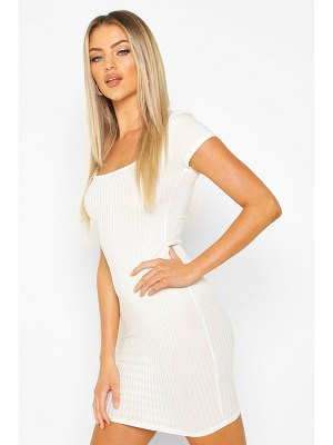 Boohoo Square Neck Ribbed Midi Dress