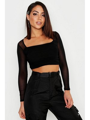 Boohoo Square Neck Ruched Mesh Crop