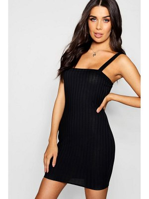 Boohoo Square Neck Wide Strap Rib Knit Dress