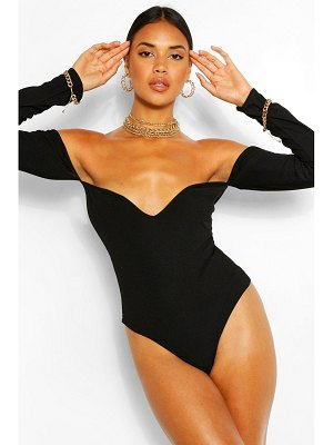 Boohoo Square Sweetheart Neck Rib One Piece