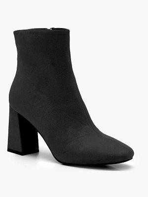 Boohoo Square Toe Block Heel Shoe Boots