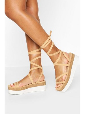 Boohoo Strappy Cork Flatforms