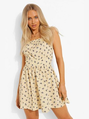 Boohoo Strappy Ditsy Floral Skater Dress