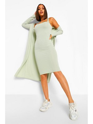 Boohoo Strappy Midi Dress And Longline Duster Coord