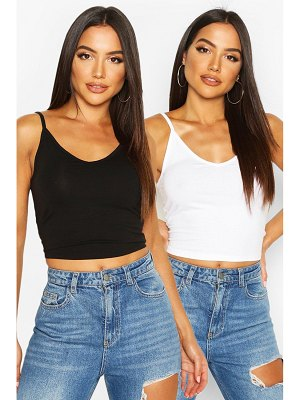 Boohoo Strappy V-Neck Crop Top Two Pack