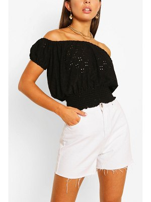 Boohoo Stretch Broferie Shirred Of The Shoulder Top