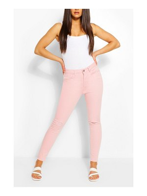 Boohoo Stretch Pink Distressed Skinny Jean