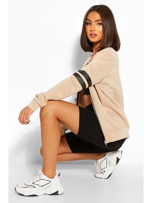Boohoo Stripe Arm Bomber Jacket