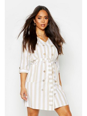Boohoo Stripe Linen Double Breasted Belted Dress