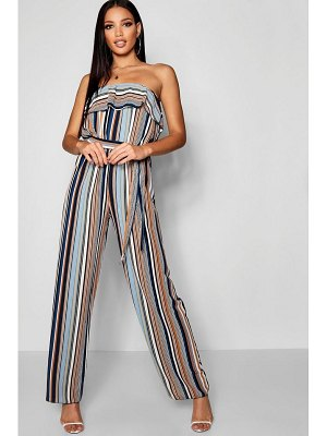 Boohoo Stripe Off The Shoulder Jumpsuit