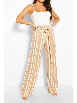 Boohoo Stripe Paperbag Wide Leg Pants