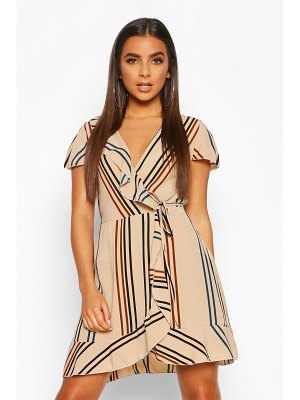 Boohoo Stripe Ruffle Detail Tea Dress
