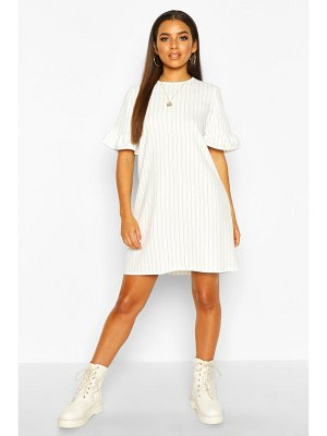 Boohoo Stripe Ruffle Sleeve Smock Dress