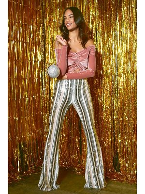 Boohoo High Waist Stripe Sequin Flares