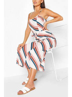 Boohoo Stripe Square Neck Strappy Culotte Jumpsuit