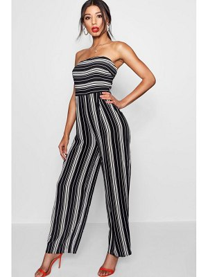 Boohoo Striped Bandeau Jumpsuit