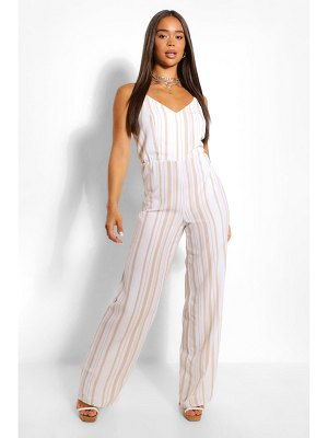 Boohoo Striped Linen Wide Leg Jumpsuit