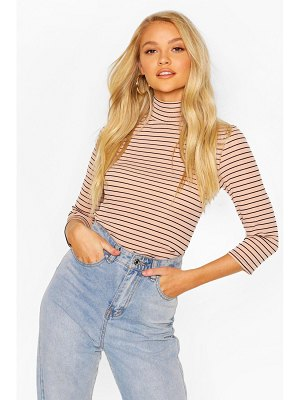 Boohoo Striped Turtle Neck Rib Top With 3/4 Sleeves