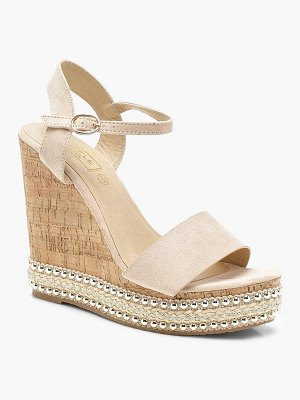 Boohoo Stud and Plait Cork Wedges