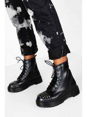 Boohoo Stud Detail Lace Up Chunky Hiker Boots